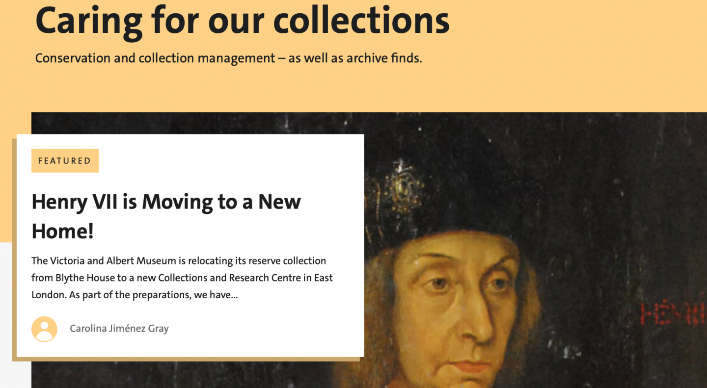 Screenshot from the 'Caring for Collections' category page of the V&A blog - taken on 17 February 2019