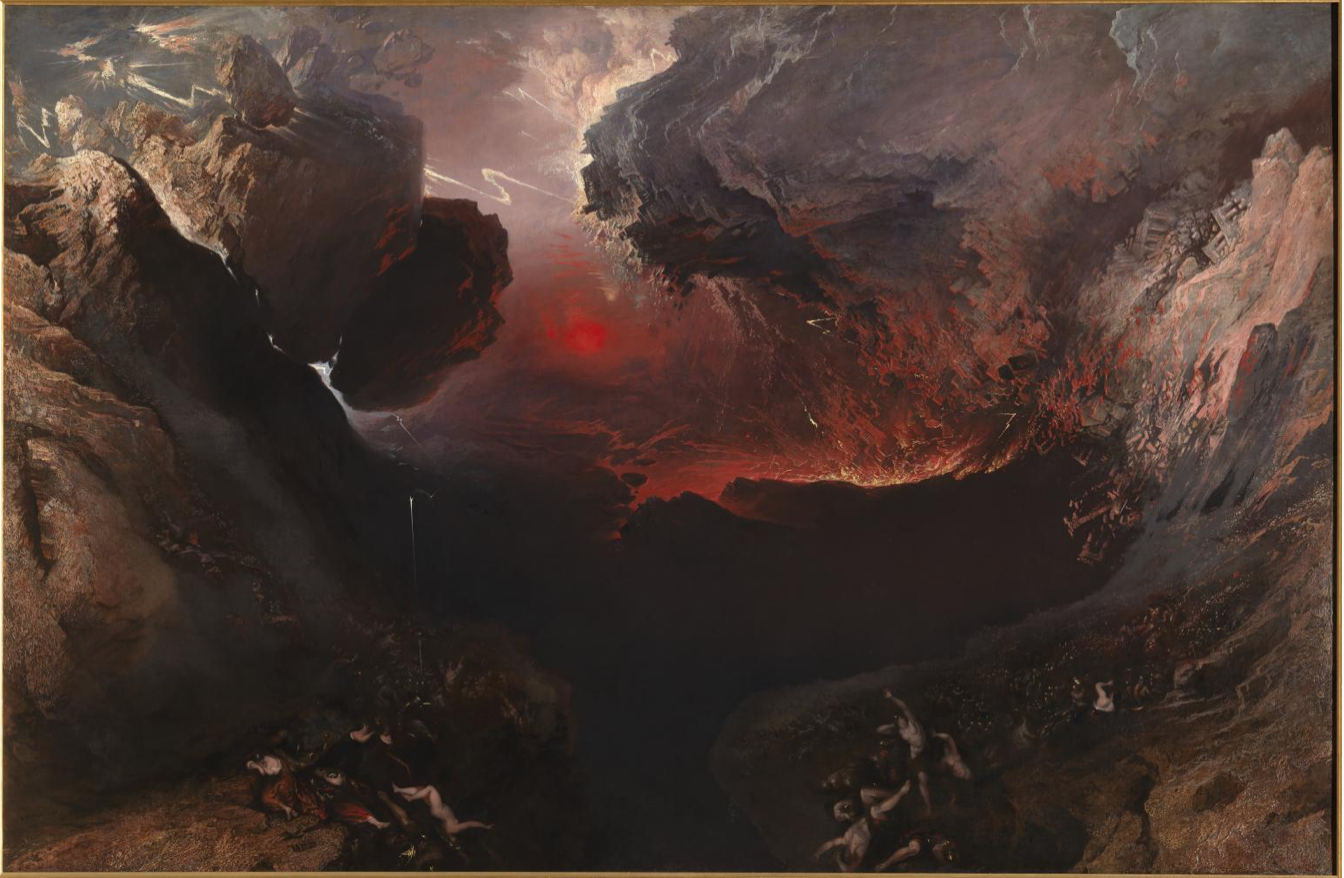 "Painting by John Martin entitled ""The Great Day of His Wrath is Come"". Painted a couple of years earlier than the window in Redbourne church, it is probably the source of Danby's inspiration."