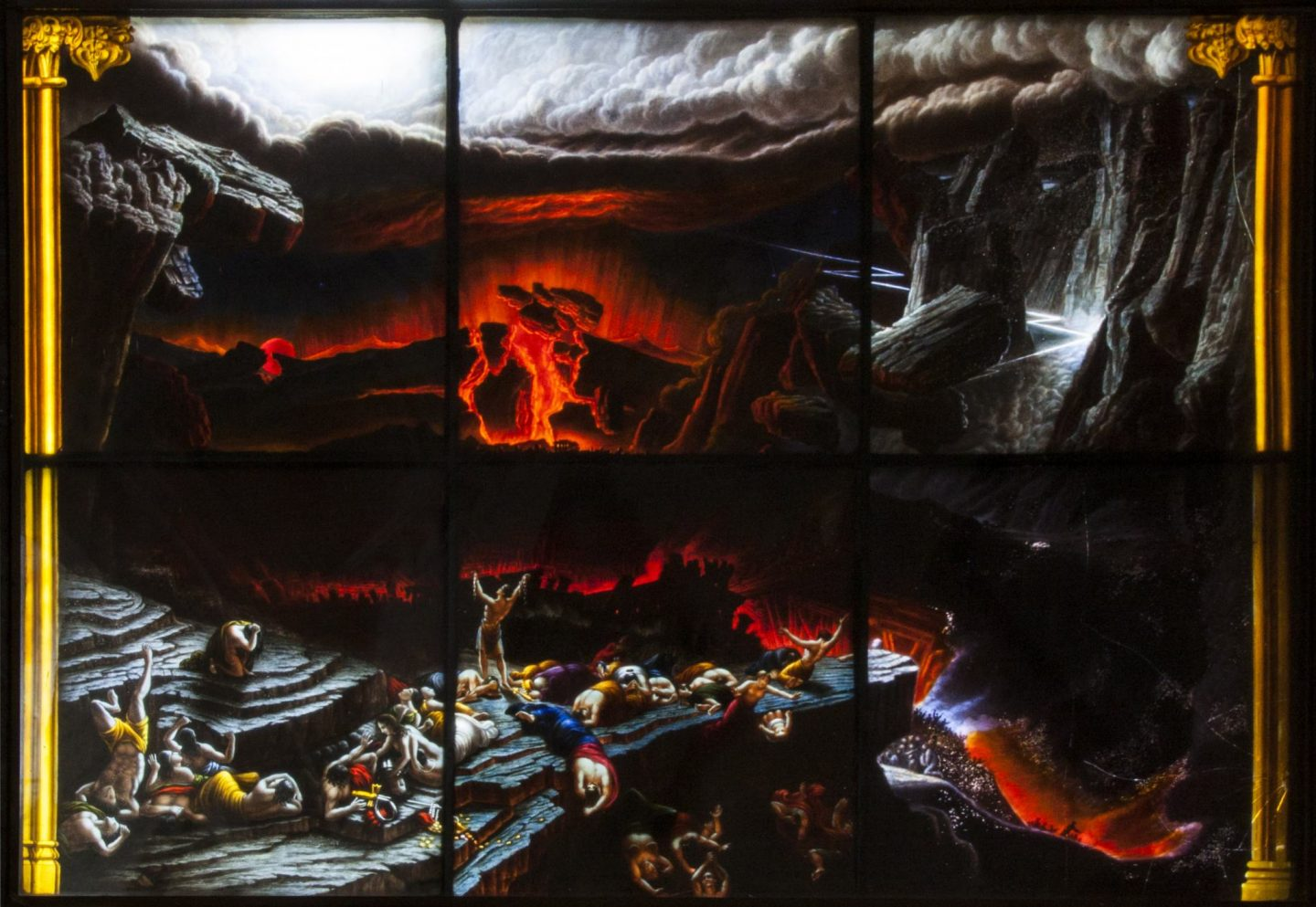 The Apocalypse Scene of the main panel of the East window of Redbourne Church. Bodies lay strewn on rocks in the foreground, while the sky cracks open with red clouds in the background.