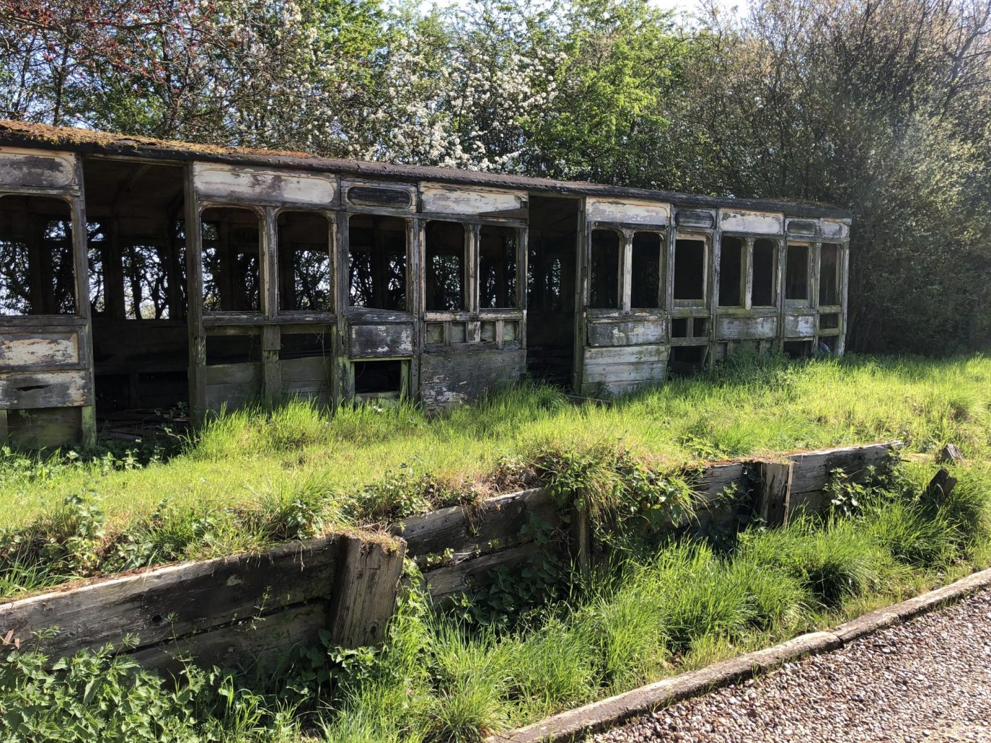 Exterior of Ashdon Halt railway carriage taken in April 2019