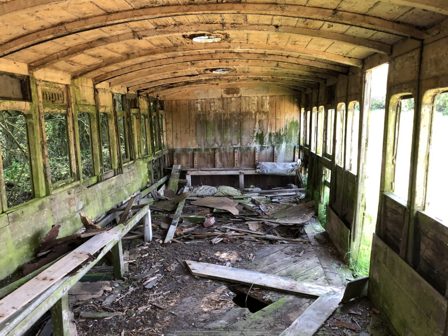 The interior of Ashdon Halt Carriage taken in April 2019