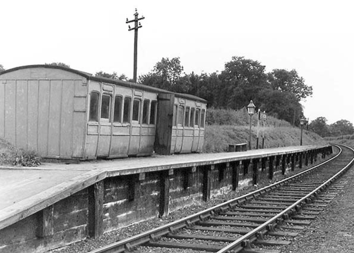 Exterior of Ashdon Halt station in the late 1950s. Copyright John Mann, taken from www.disusedstations.org.uk