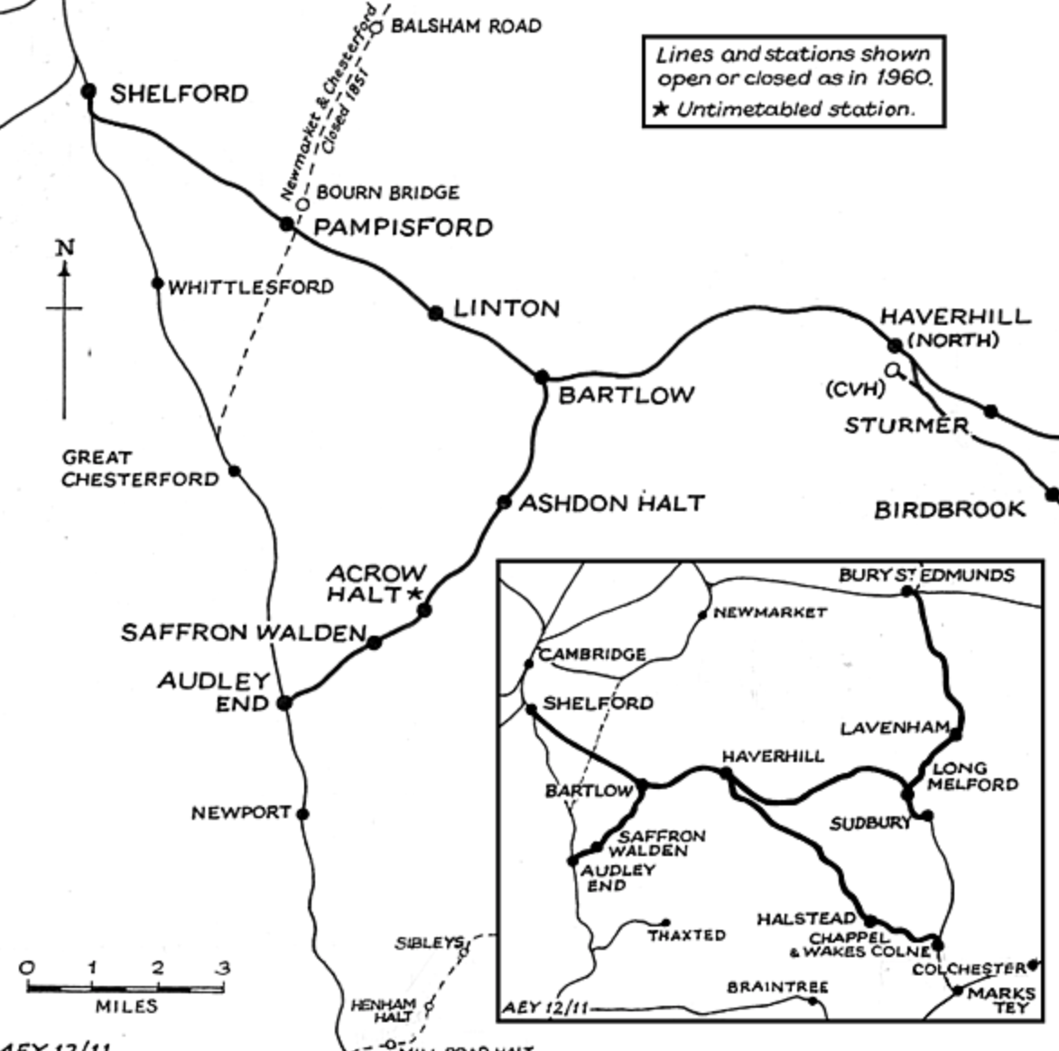 The line of the station between Audley End and Bartlow with other station lines for reference. Taken from Disused Railways website.