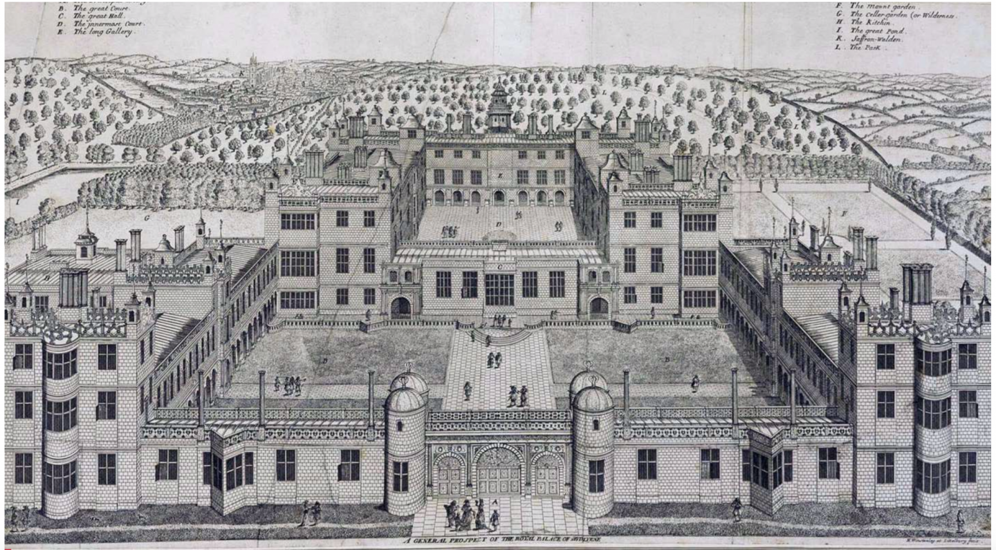 One of Henry Winstanley's engravings of Audley End House dating to 1676.