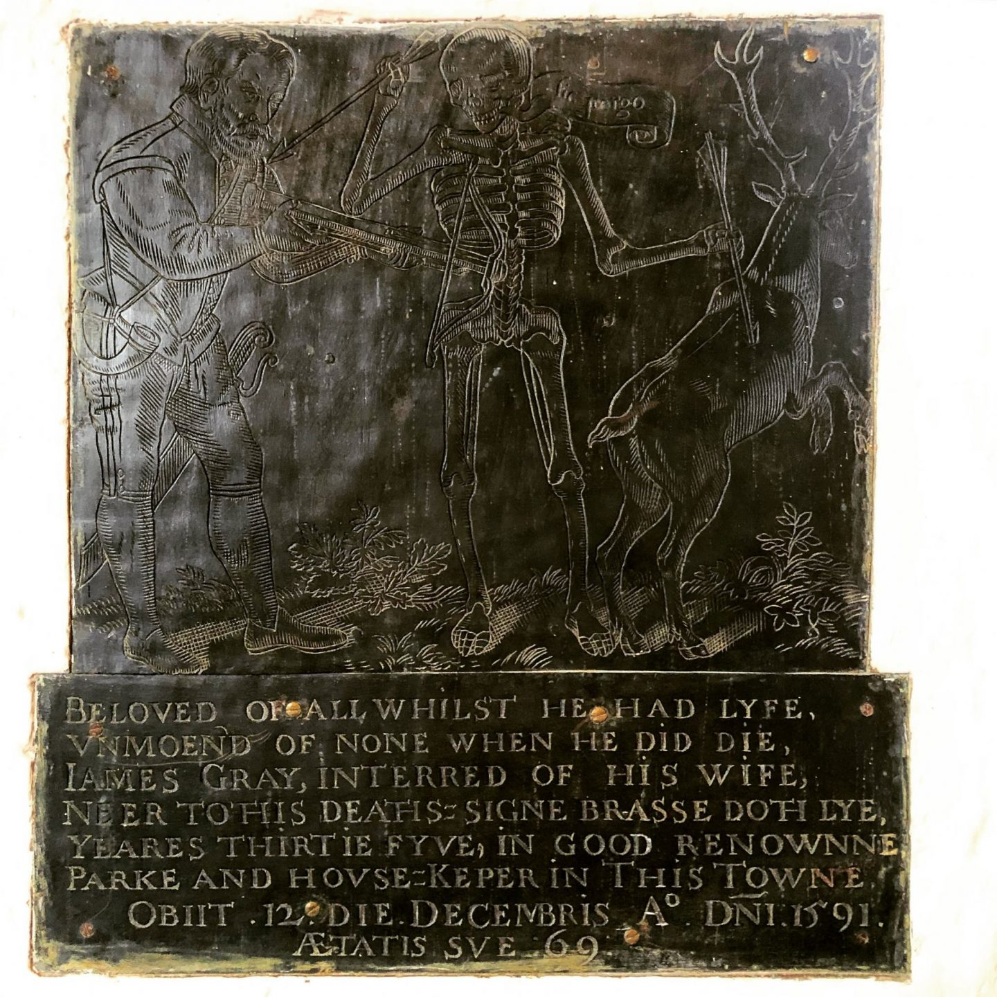 Monumental brass from St Dunstan's church, Hunsdon, dedicated to James Gray who died while out hunting.
