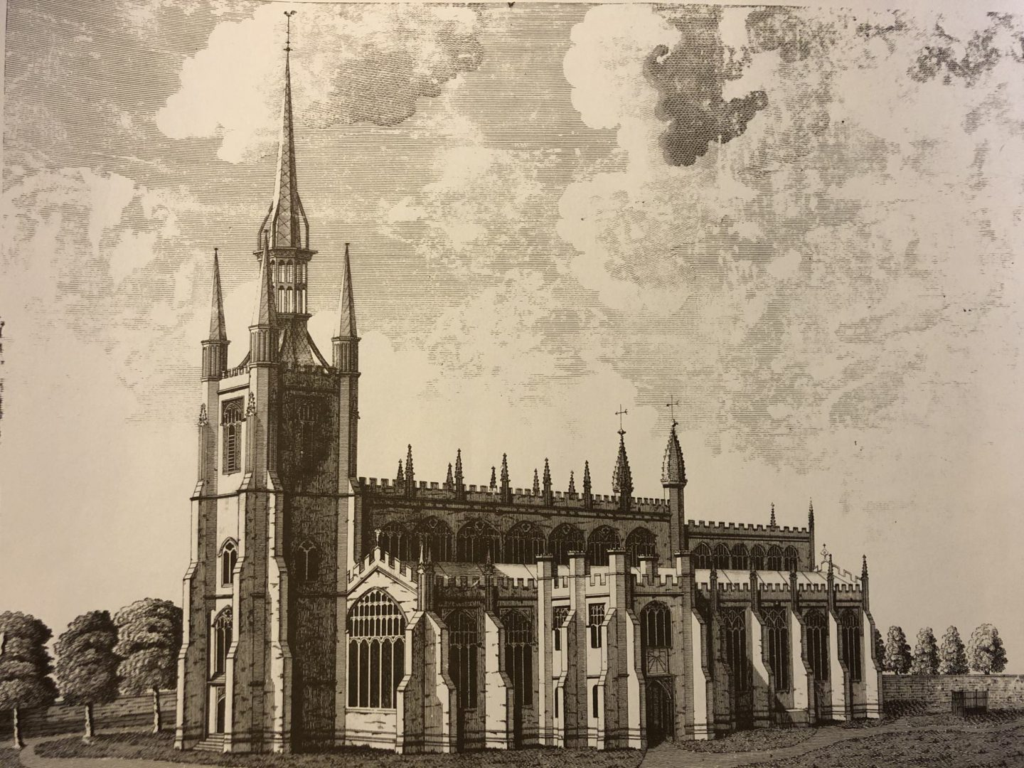 Print of a copperplate engraving of St Mary's church, Saffron Walden. The engraving was made in 1784 by William Robinson. Courtesy of St Mary's Church, Saffron Walden.
