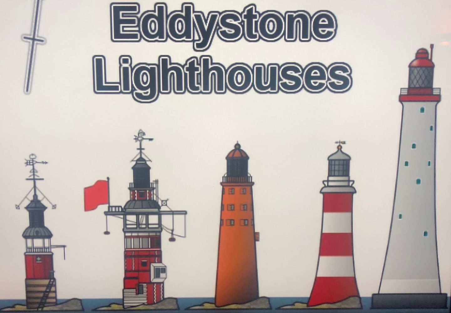 An artistic recreation of all Eddystone lighthouses together.