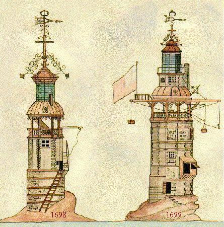 The two early versions of the Eddystone lighthouse.