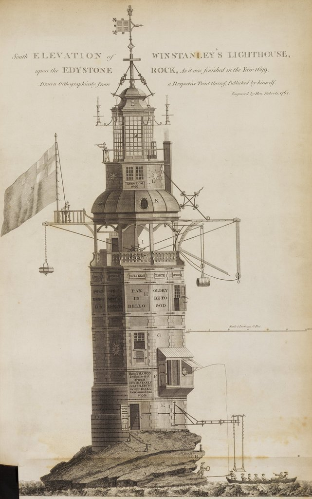 An engraving of the Eddystone Lighthouse