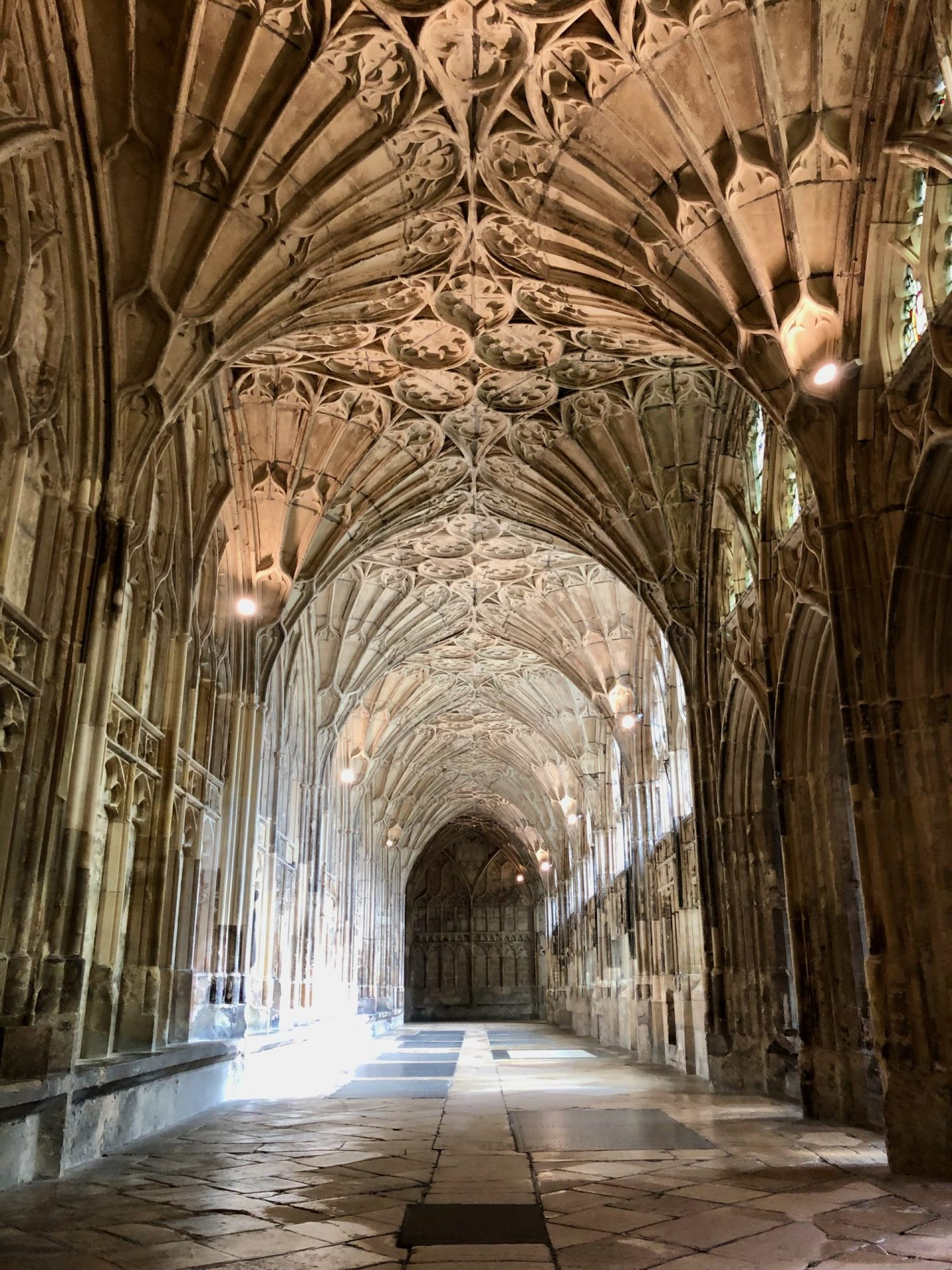 Gloucester cathedral cloisters - one of the earliest appearances of fan vaulting. (copyright Rachel Arnold)