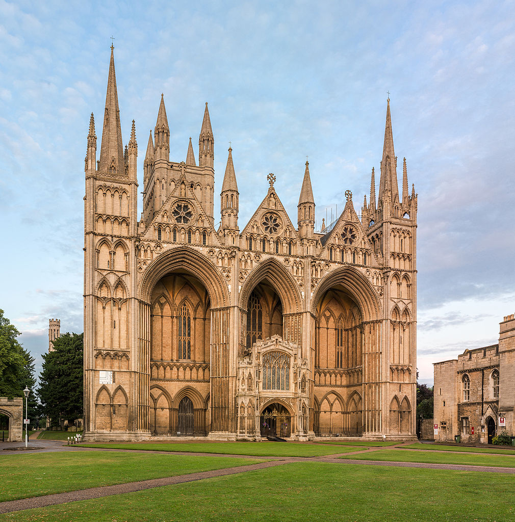 Peterborough cathedral has one of the most distinctive west fronts. (source: wiki-commons).