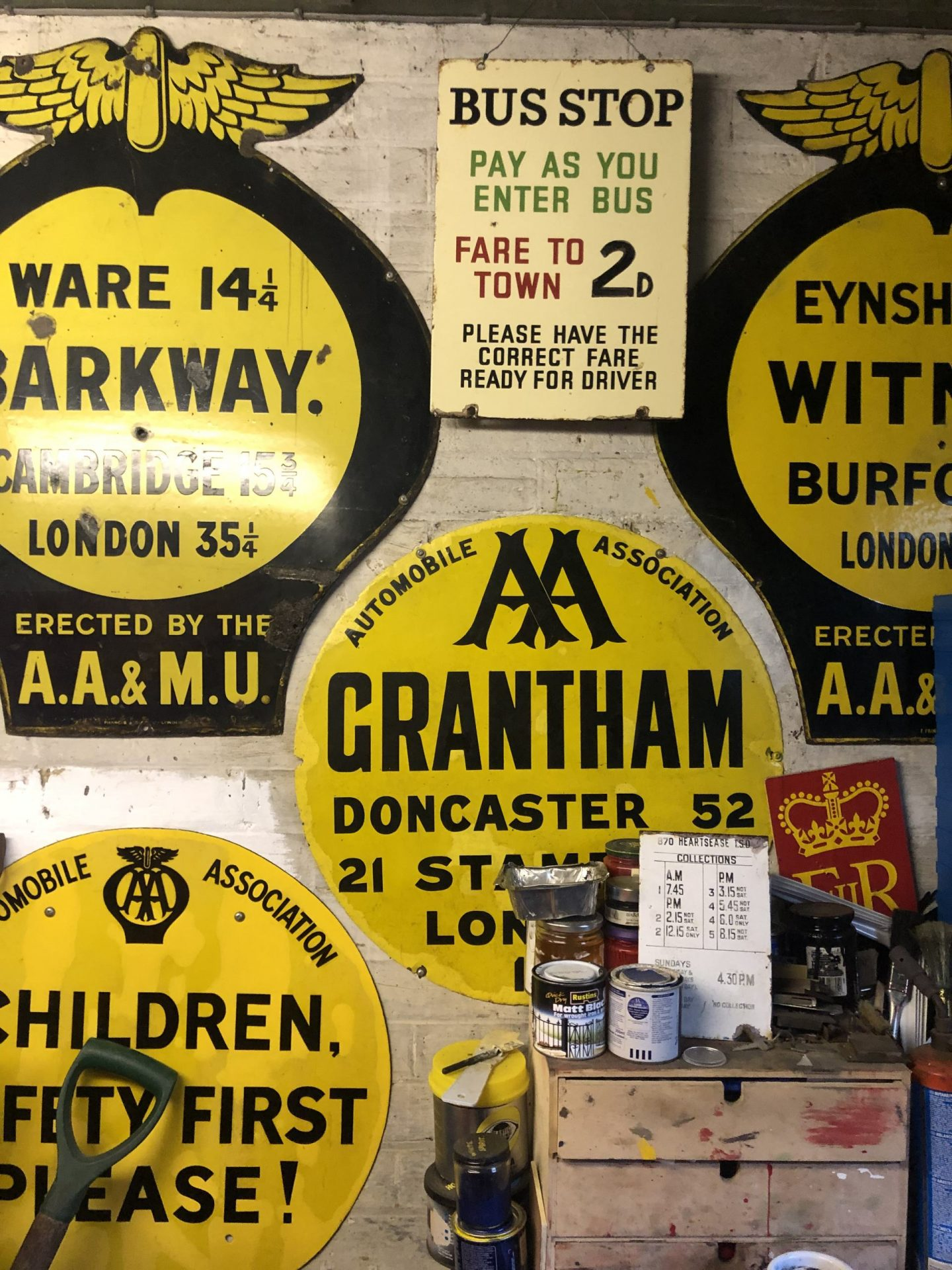 AA Signs: The Colne Valley Postal History Museum is also home to lots of AA signs