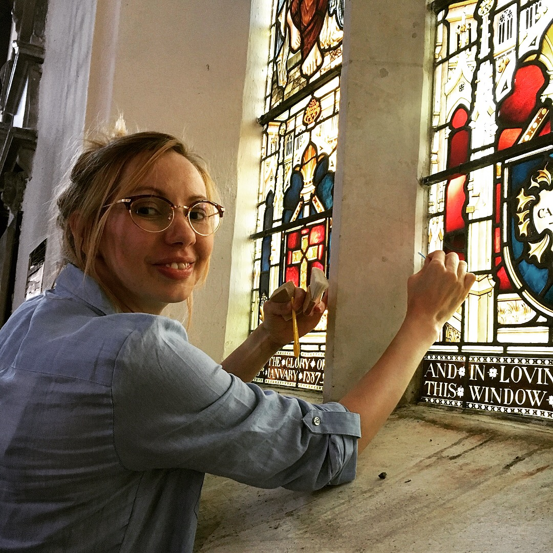 Rachel Arnold stained glass conservation in situ - RA Conservation