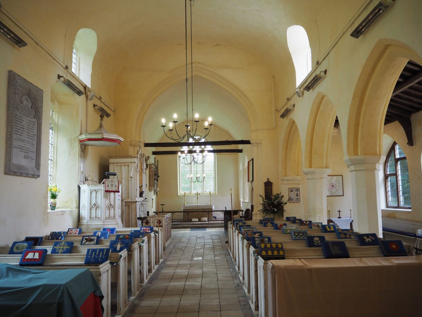 Looking east into the chancel of St Andrew's church, Helions Bumpstead